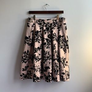 Gorgeous Pink Skirt with Black Velvet Florals